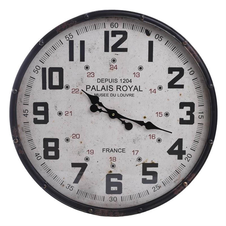 Ρολόι τοίχου μεταλλικό λευκό/μαύρο Δ61x9cm Inart 3-20-773-0262