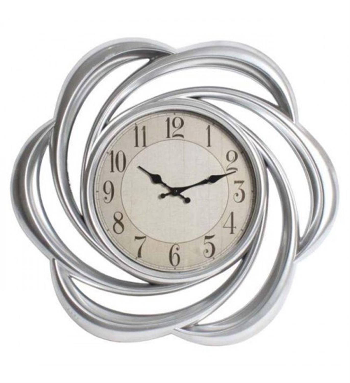 Ρολόι τοίχου αντικέ ασημί 62×6.5x62cm Inart 3-20-828-0011