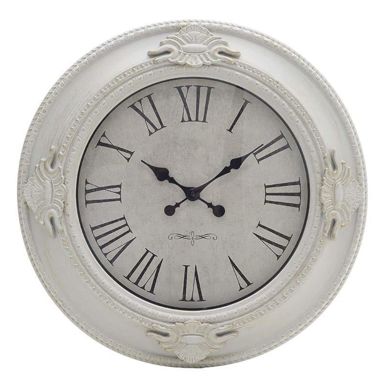 Ρολόι τοίχου pl αντικέ λευκό χρυσό 57.5×5.5cm Inart 3-20-925-0007