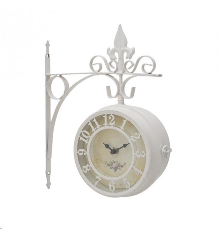 Ρολόι τοίχου σταθμού μεταλλικό μπεζ/εκρού 27x9x30cm Inart 3-25-021-0005