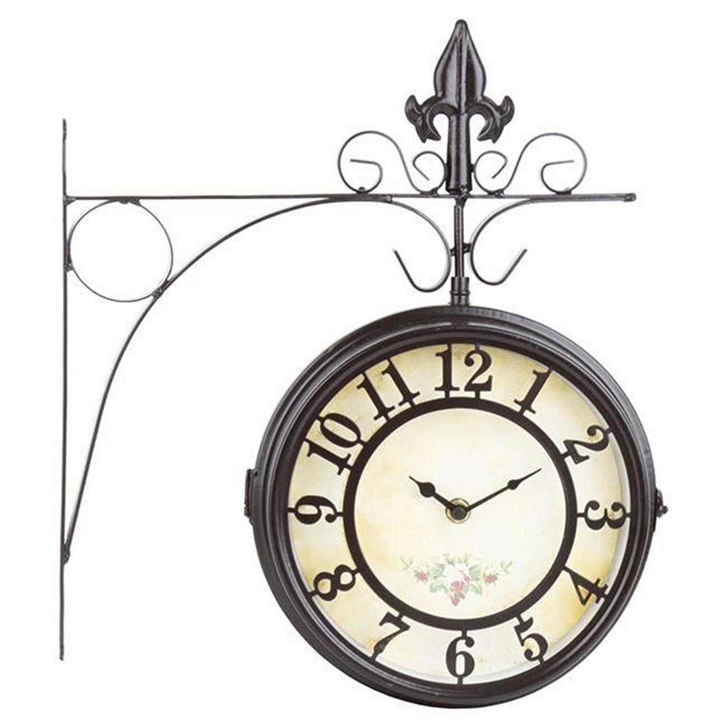 Ρολόι τοίχου σταθμού μεταλλικό σκούρο καφέ 30.5x9x35.5cm Inart 3-25-021-0008