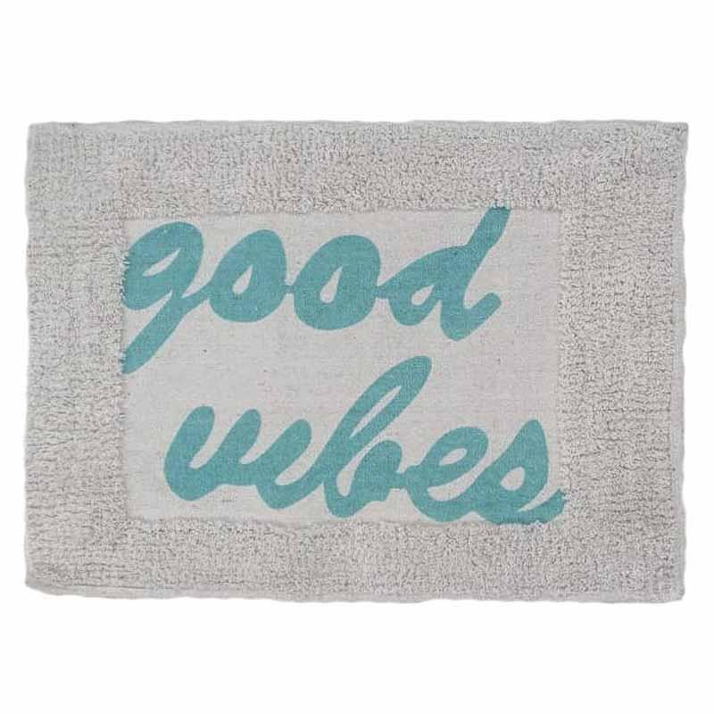 Πατάκι/ταπέτο μπάνιου Good vibes βαμβακερό μπλε 40x60cm Estia 02-7287