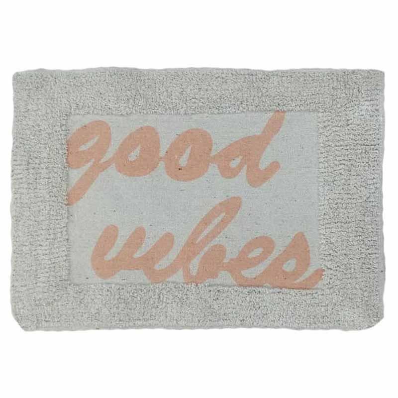 Πατάκι/ταπέτο μπάνιου Good vibes βαμβακερό ροζ 40x60cm Estia 02-7294