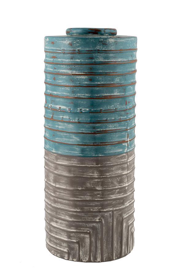 Βάζο διακοσμητικό μεταλλικό βεραμάν/γκρι 12.5×30.5cm