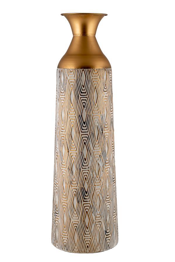 Βάζο δαπέδου διακοσμητικό μεταλλικό μπεζ/καφέ 18x18x76.5cm