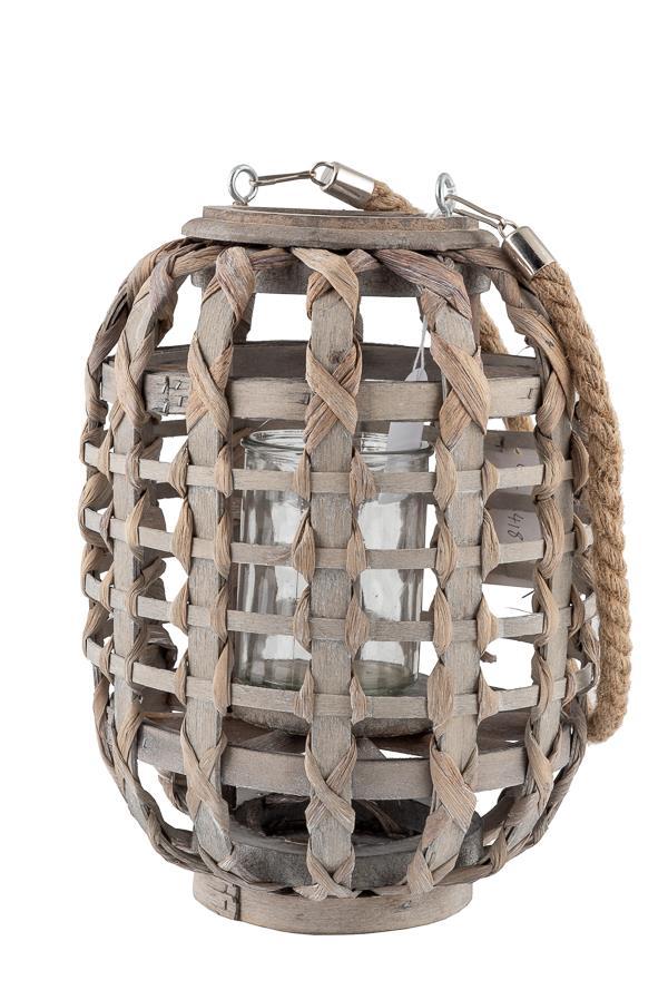 Φανάρι διακοσμητικό οβάλ πλεκτό γκρι με γυαλί για κερί 15.5×42.5cm