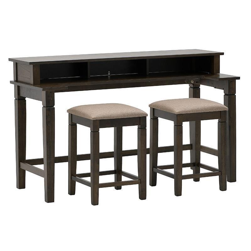Τραπέζι Counter Height με 2 σκαμπώ ξύλινο καφέ 152x60x91cm/40x40x60cm Inart 3-50-836-0008