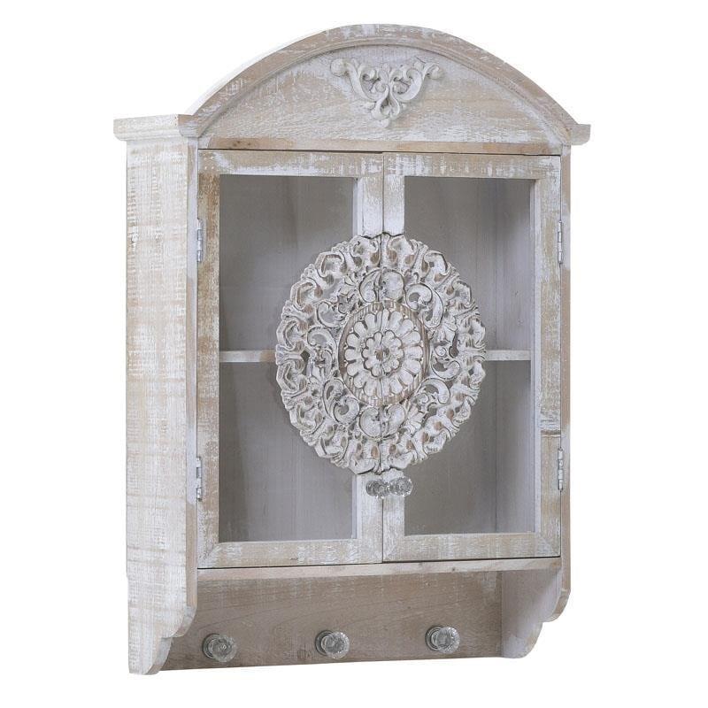 Ντουλάπι τοίχου/Κρεμάστρα ξύλινο αντικέ natural/λευκό 43x14x62cm Inart 3-50-156-0074