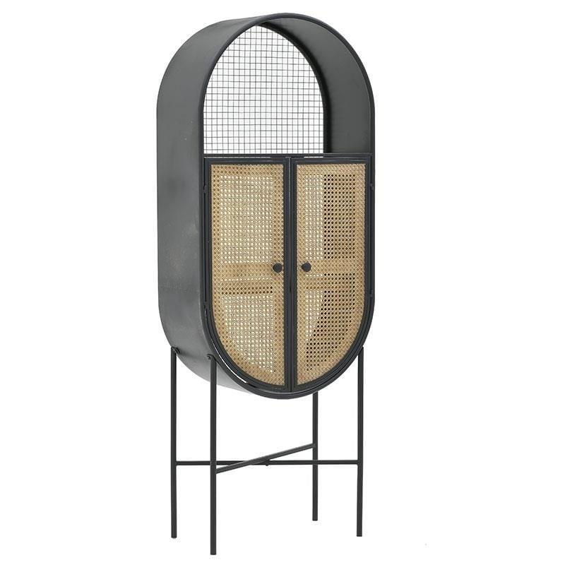 Ντουλάπι μεταλλικό/ξύλινο μαύρο/natural 60x30x160cm Inart 3-50-293-0083