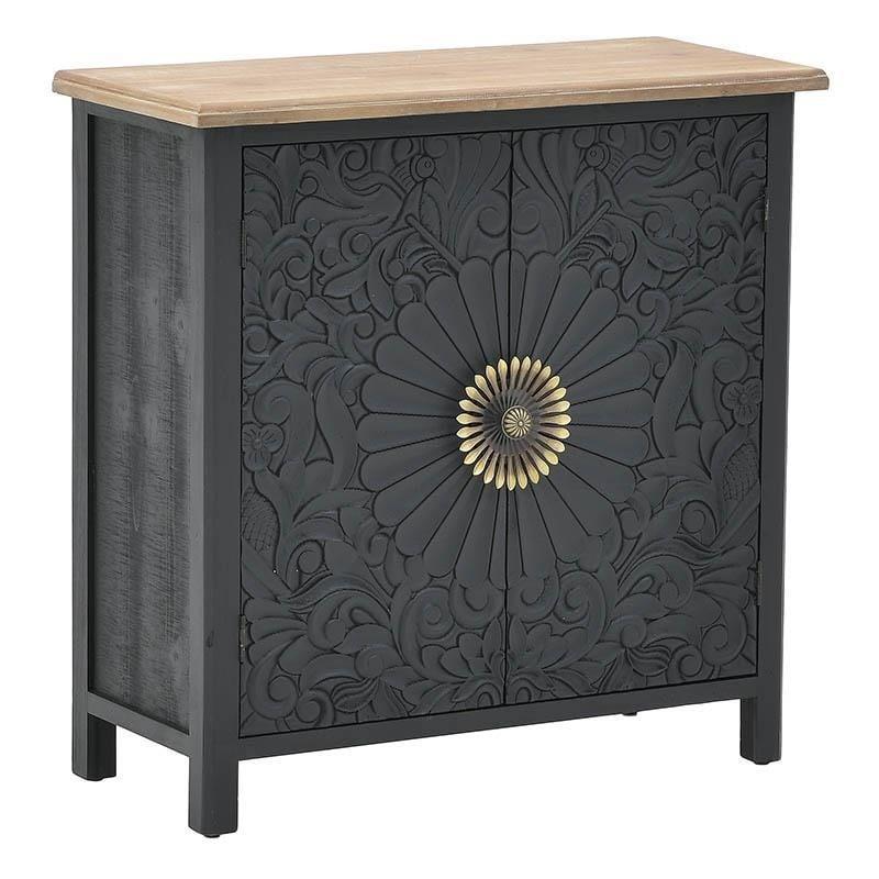 Ντουλάπι ξύλινο μαύρο/natural 80x35x80cm Inart 3-50-626-0035