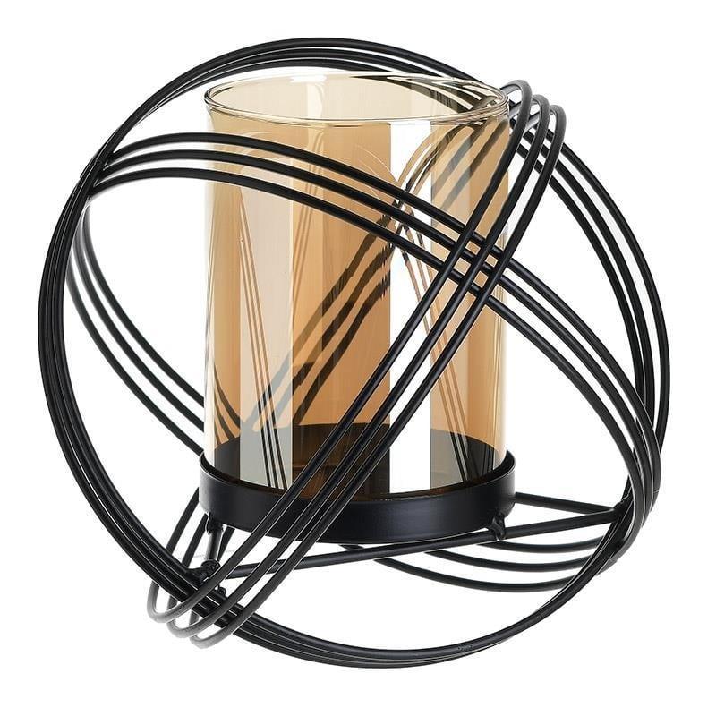 Κηροπήγιο επιτραπέζιο μεταλλικό/γυάλινο μαύρο/μελί 23x23x21cm Inart 3-70-788-0065