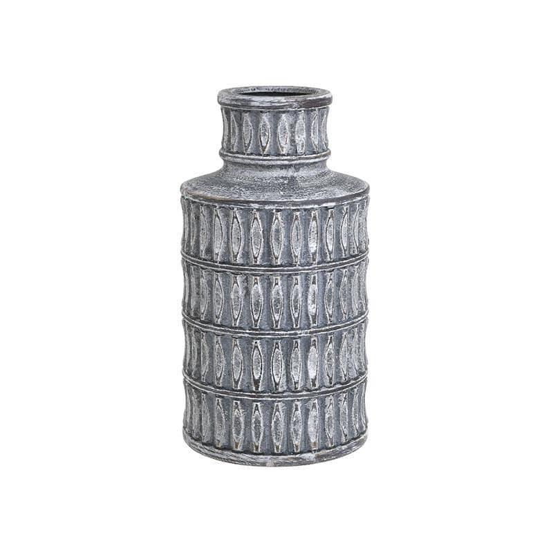 Βάζο διακοσμητικό κεραμικό αντικέ γκρι 15x15x29cm Inart 3-70-140-0014