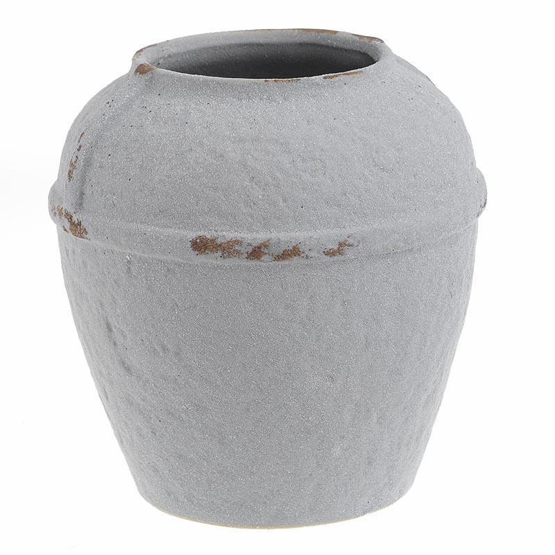 Βάζο διακοσμητικό κεραμικό αντικέ λευκό 18x18cm Inart 3-70-632-0011