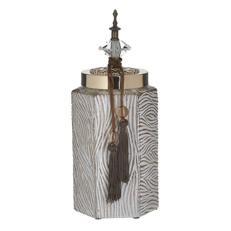 Δοχείο διακοσμητικό με καπάκι κεραμικό αντικέ λευκό/μπεζ 15x13x34cm Inart 3-70-743-0172