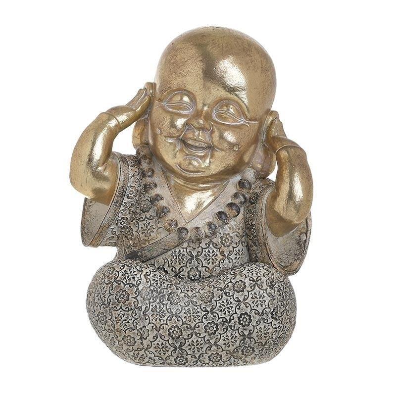 Διακοσμητικό επιτραπέζιο βούδας polyresin χρυσός 16x15x22cm Inart 3-70-211-0123