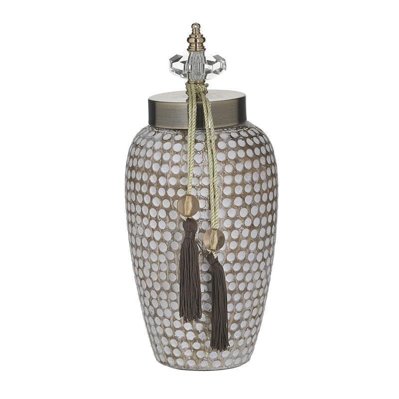 Δοχείο διακοσμητικό με καπάκι κεραμικό αντικέ λευκό/μπεζ 14x14x31cm Inart 3-70-743-0175
