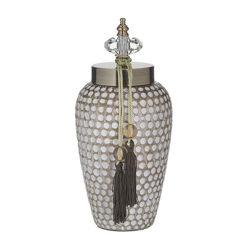 Δοχείο διακοσμητικό με καπάκι κεραμικό αντικέ λευκό/μπεζ 14x14x30cm Inart 3-70-743-0176