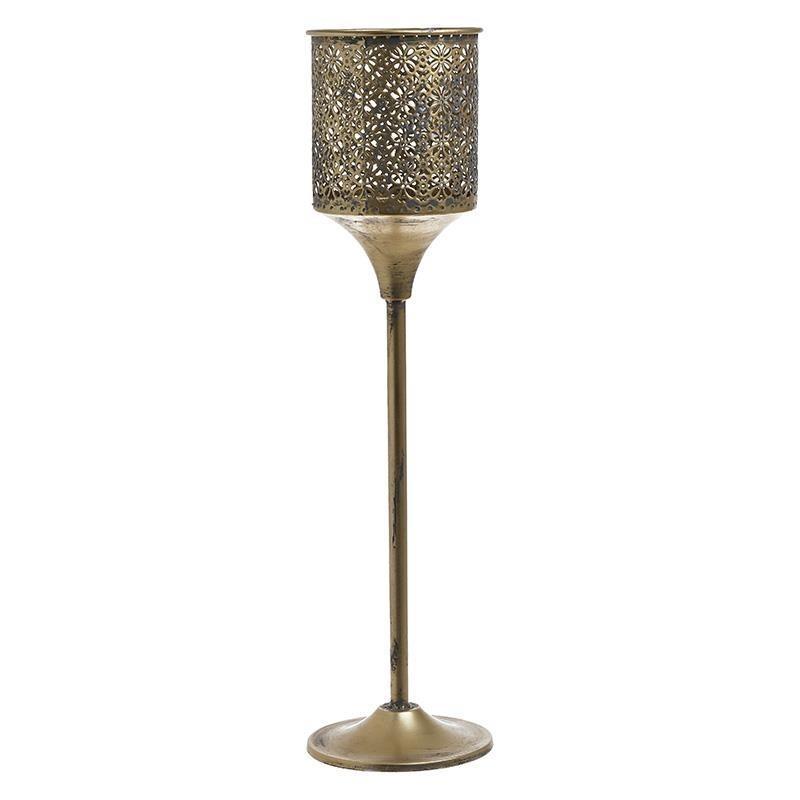 Κηροπήγιο μεταλλικό αντικέ χρυσό 13x13x50cm Inart 3-70-669-0046