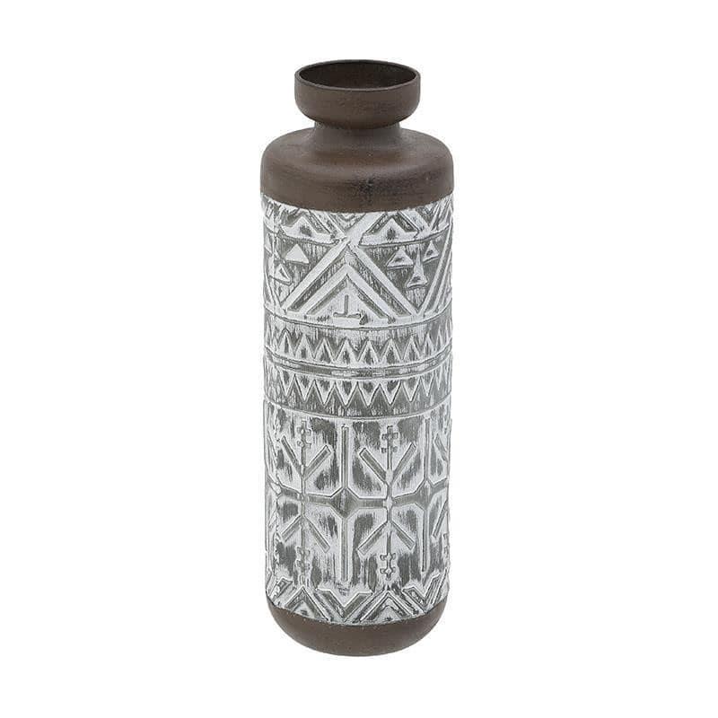 Βάζο διακοσμητικό μεταλλικό γκρι/καφέ 16x16x50cm Inart 3-70-626-0099