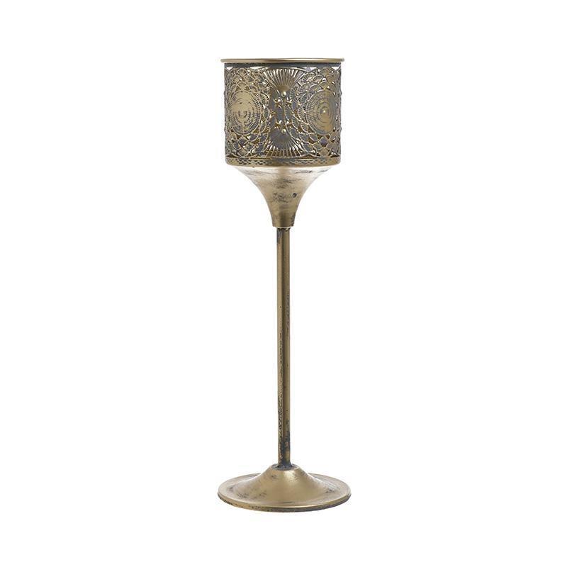 Κηροπήγιο μεταλλικό αντικέ χρυσό 13x13x43cm Inart 3-70-669-0048