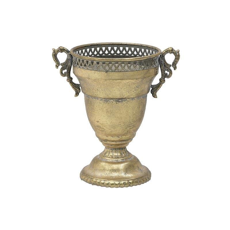 Αμφορέας μεταλλικός αντικέ χρυσός 35x25x36cm Inart 3-70-349-0090