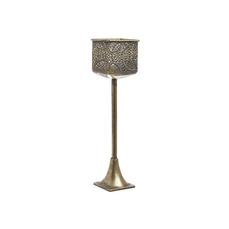 Κηροπήγιο μεταλλικό αντικέ χρυσό 9x9x37cm Inart 3-70-669-0051