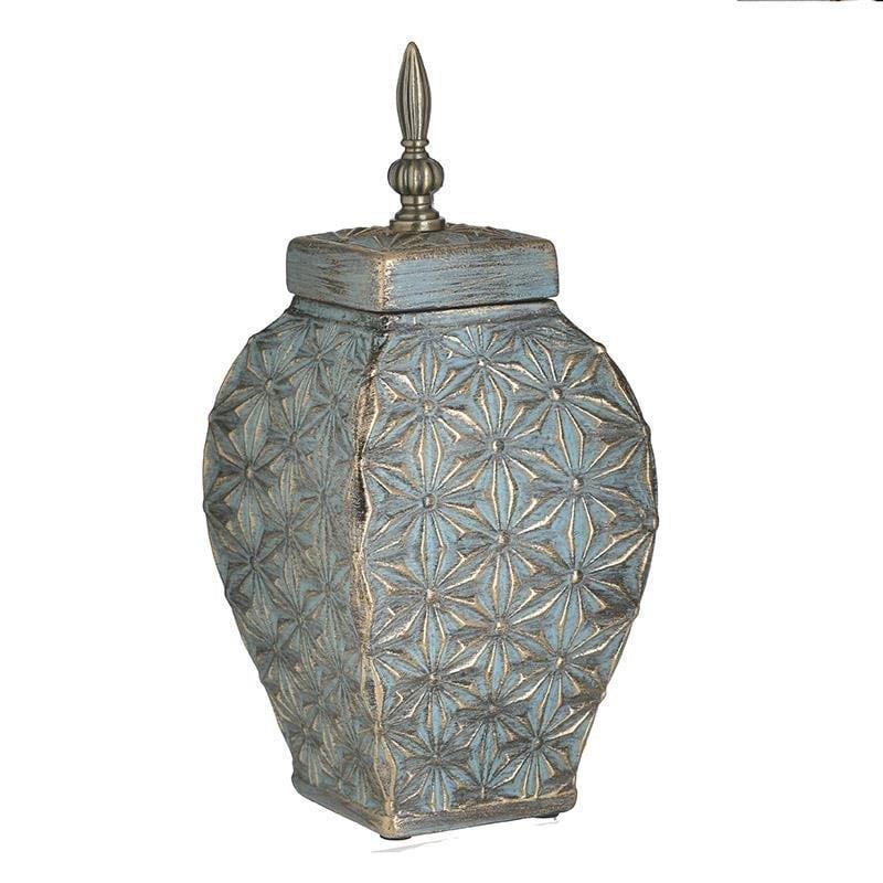 Διακοσμητικό βάζο με καπάκι κεραμικό αντικέ χρυσό/πράσινο 14x14x33cm Inart 3-70-140-0003