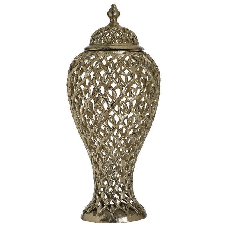 Διακοσμητικό βάζο με καπάκι διάτρητο αλουμινίου χρυσό 24x24x52cm Inart 3-70-983-0022