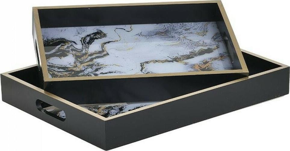 Σετ 2 δίσκοι σερβιρίσματος με όψη μαρμάρου μαύροι/χρυσοί 40x30cm Inart 3-70-151-0321