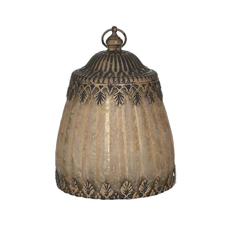 Φαναράκι LED μεταλλικό/γυάλινο αντικέ χρυσό 10x10x14cm Inart 3-70-912-0103