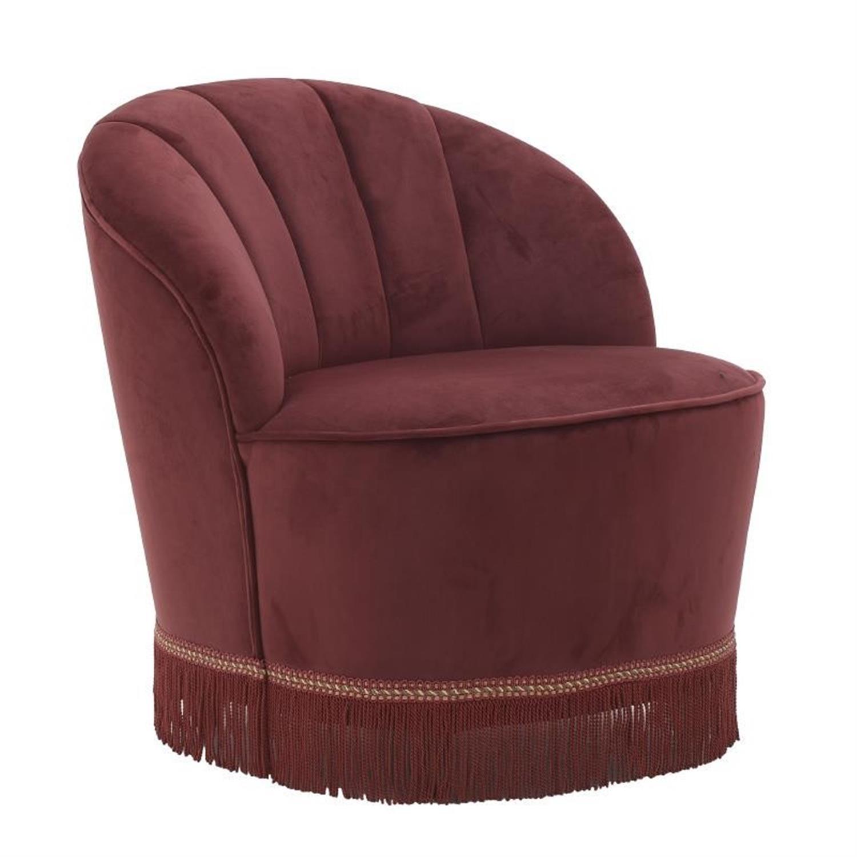 Καρεκλοπολυθρόνα με κρόσσια βελούδινη κόκκινη 67x71x70cm Inart 3-50-104-0360