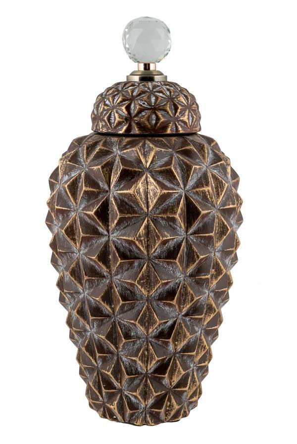 Τζαρ κουκουνάρι κεραμικό χρυσό/καφέ 16.5×16.5×33.5cm
