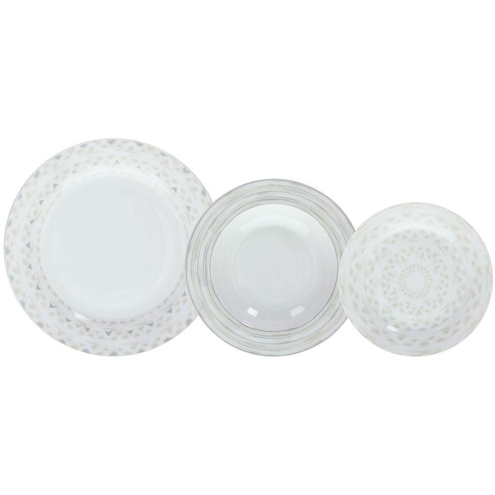 S/18 Σερβίτσιο φαγητού πορσελάνινο λευκό/γκρι Tognana Olimpia Sand
