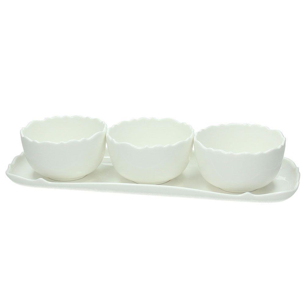 Σετ 3 μπωλ σερβιρίσματος με δίσκο πορσελάνινα λευκά 35x12cm Kalika Bianco