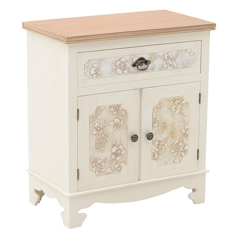 Ντουλάπι ξύλινο λευκό/καφέ 60x34x68.5cm Inart 3-50-147-0068