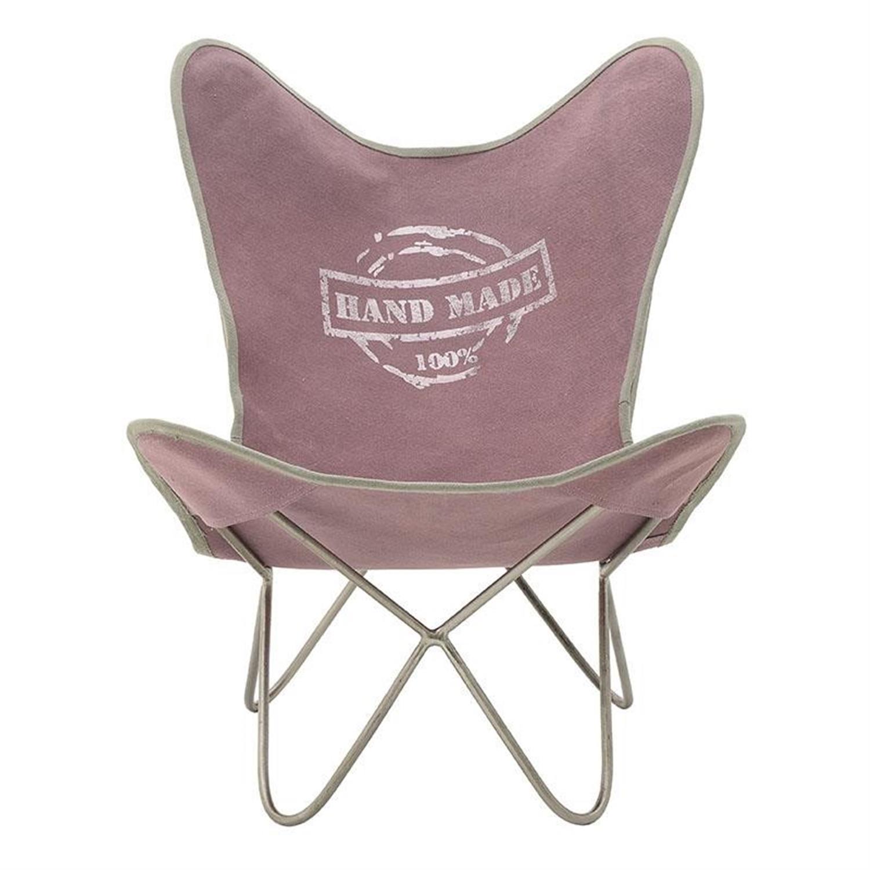 Καρέκλα πεταλούδα μεταλλική/υφασμάτινη ροζ 60x70x80cm Inart 3-50-189-0050