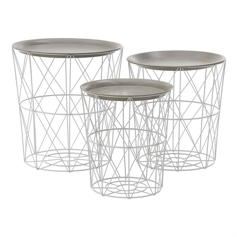 S/3 Τραπέζι καλάθι αποθήκευσης μεταλλικό μπεζ λευκό 40x44cm Inart 3-50-207-0064