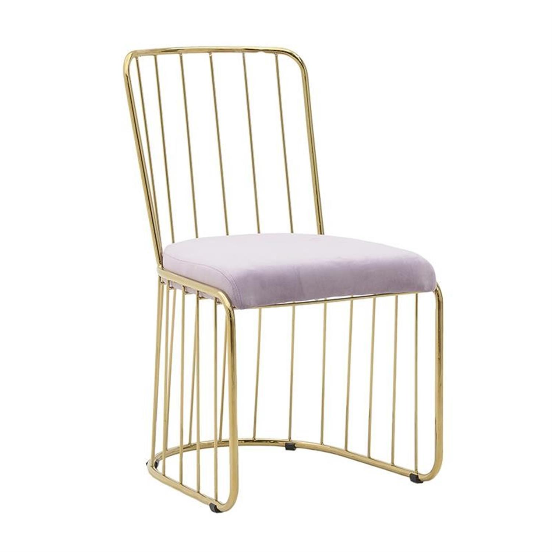 Καρέκλα μεταλλική βελούδινη χρυσή ροζ 51x48x82cm Inart 3-50-224-0002