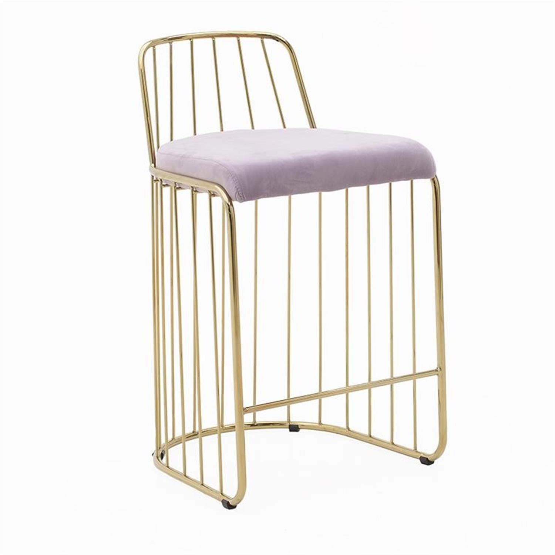 Καρέκλα μεταλλική/βελούδινη χρυσή/ροζ 47x50x84cm Inart 3-50-224-0004