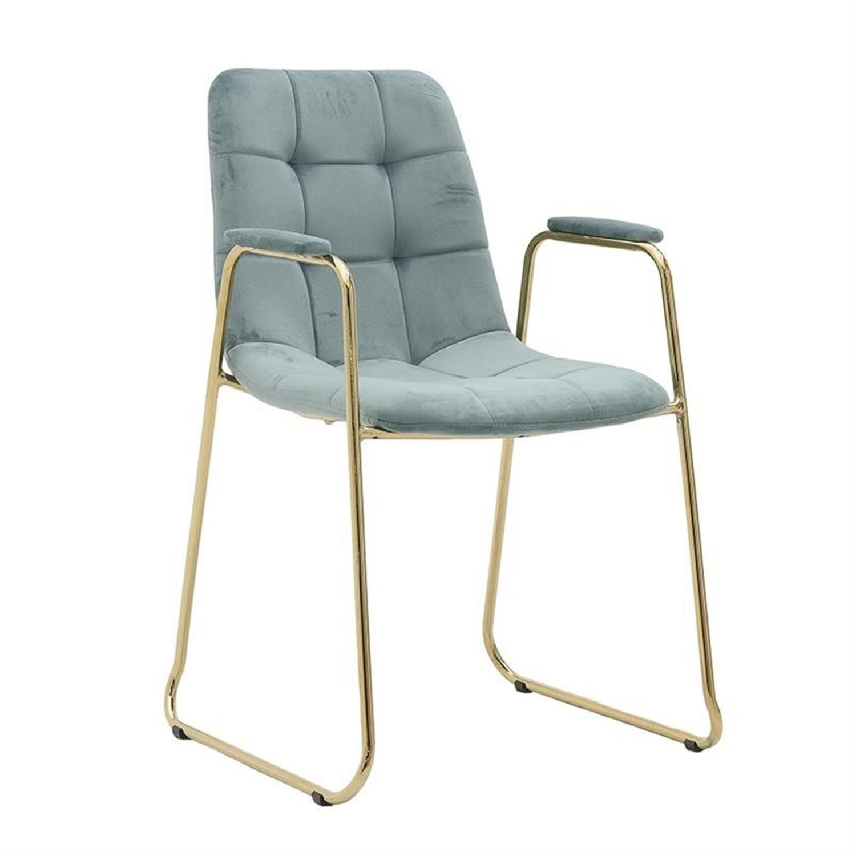 Καρέκλα μεταλλική βελούδινη χρυσή βεραμάν 56x57x89cm Inart 3-50-224-0007