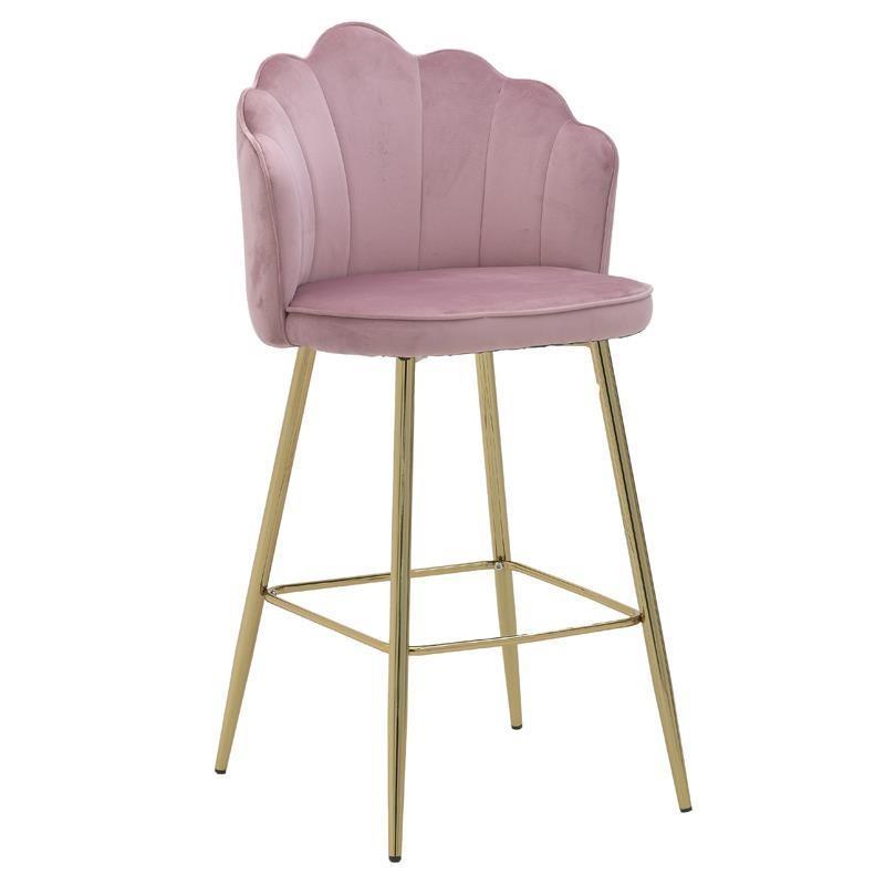 Σκαμπό Μπαρ βελούδινο/μεταλλικό ροζ/χρυσό 53x50x100-68cm Inart 3-50-064-0034