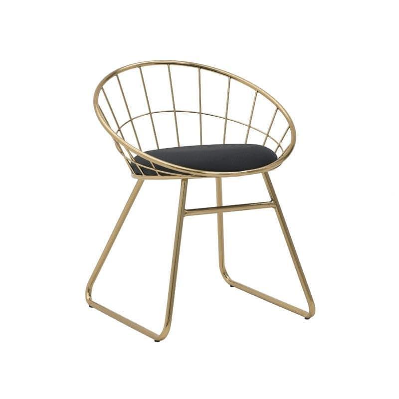 Καρέκλα μεταλλική/βελούδινη χρυσή/μαύρη 47x53x65_45cm Inart 3-50-688-0016