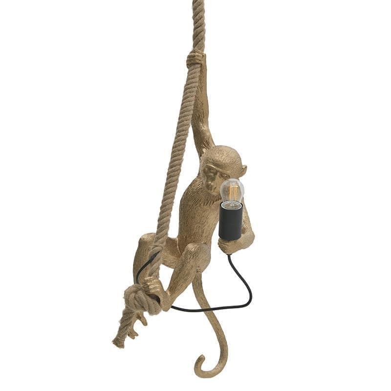 Φωτιστικό οροφής πίθηκος κρεμαστό μονόφωτο polyresin/σχοινί χρυσό 35x35x72_160cm Inart 3-10-752-0046