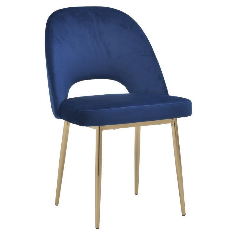 Καρέκλα μεταλλική/βελούδινη μπλε/χρυσή 53x60x85_48cm Inart 3-50-688-0010