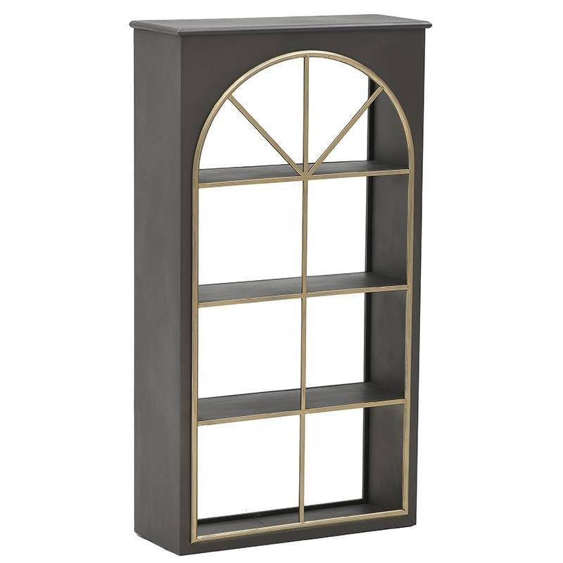 Βιτρίνα μεταλλική αντικέ μαύρη/χρυσή 60x23x110cm Inart 3-50-153-0020