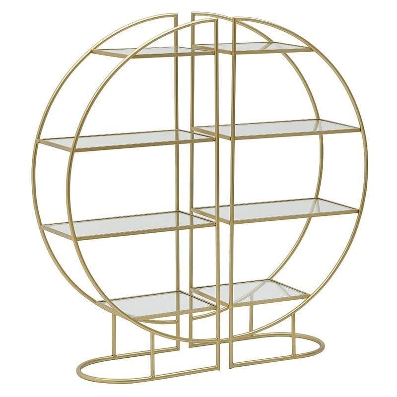 S/2 Ραφιέρα μεταλλική/γυάλινη χρυσή 55x30x120cm Inart 3-50-698-0010
