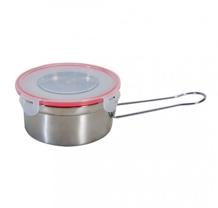 Φαγητοδοχείο inox με αεροστεγές πλαστικό καπάκι 12cm Venus 22230
