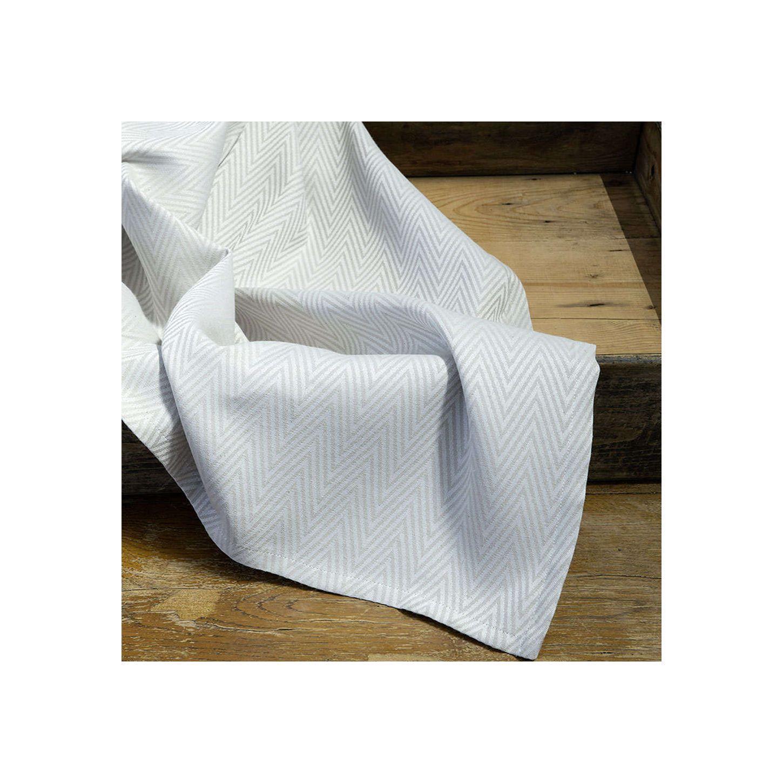 Runner Ritzy βαμβακερό/polyester ψαροκόκκαλο ανοιχτό γκρι 45x160cm Nima