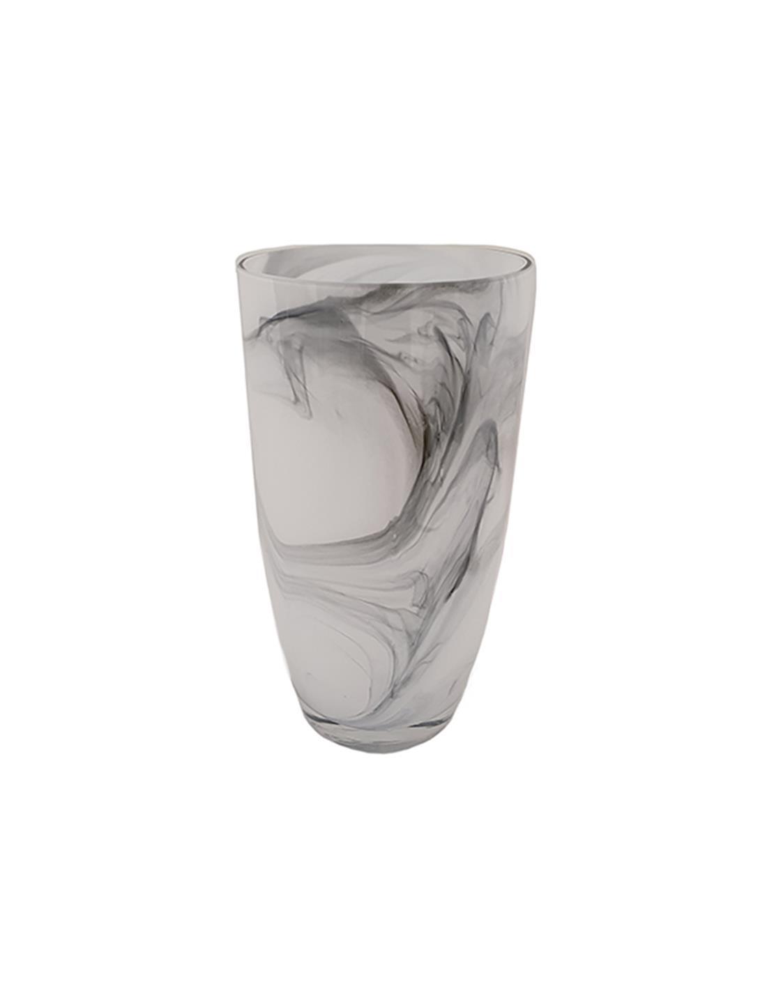 Βάζο marble γυάλινο λευκό/μαύρο 16x28cm