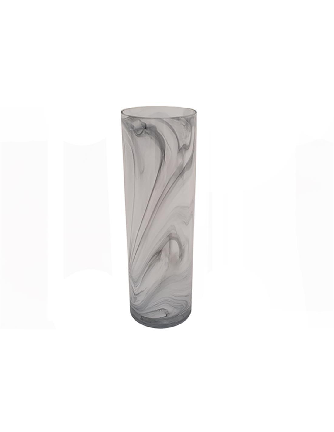 Βάζο marble γυάλινο λευκό/μαύρο 12.7x40cm